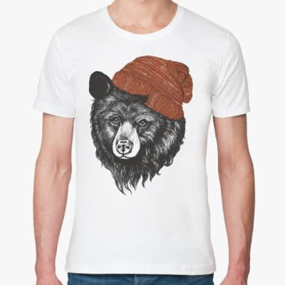 Футболка из органик-хлопка Медведь в шапке