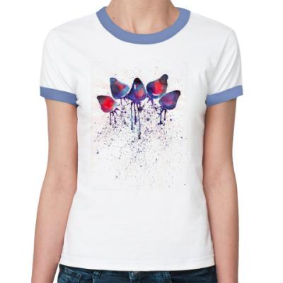 Женская футболка Ringer-T  Amelin Lé Pago. Клубника