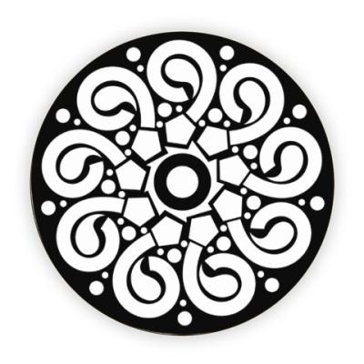 Костер (подставка под кружку) Черно-белая розетка с геометрическим орнаментом