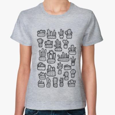 Женская футболка Коллекция смешных кактусов в горшочках