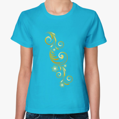 Женская футболка золотые узоры