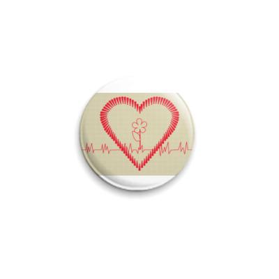 Значок 25мм  25 мм кардиограмма