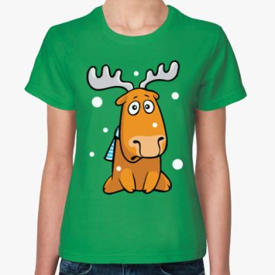 Женская футболка Олень с шарфом