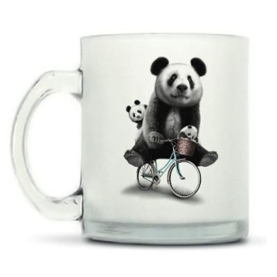 Кружка матовая Панды на велосипеде