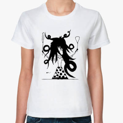Классическая футболка  «Девочка и шарики»