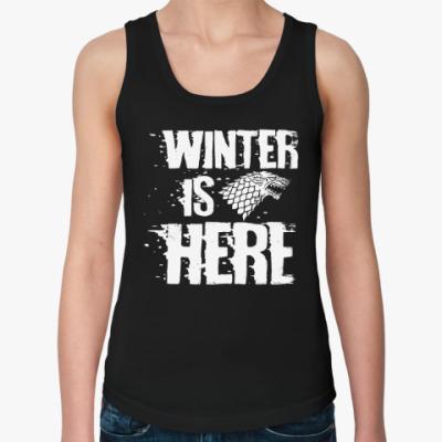 Женская майка Игра престолов. Winter is here