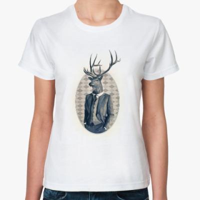 Классическая футболка олень в костюме