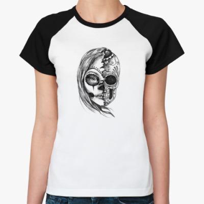 Женская футболка реглан Зомби девушка, Zombie Girl, Ужасы, Скелет, Лицо