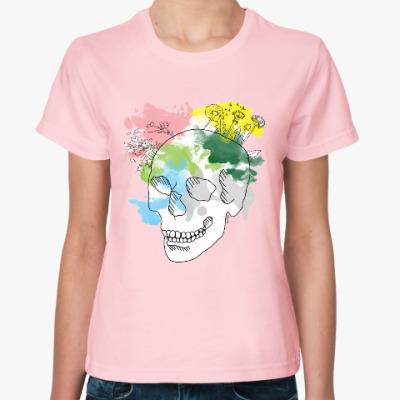 Женская футболка  Апрельский череп