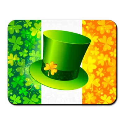 Коврик для мыши Зеленая шляпа+ирландский флаг