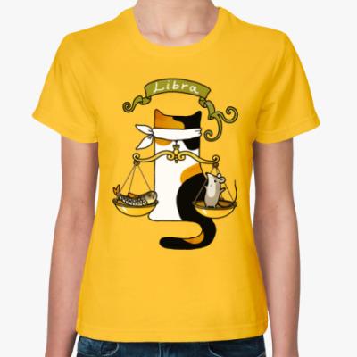 Женская футболка Котик по гороскопу Весы