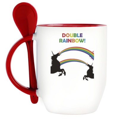 Кружка с ложкой Двойная радуга