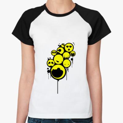Женская футболка реглан   Smiley