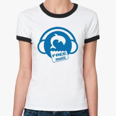 Женская футболка Ringer-T Free Music