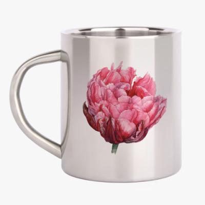 Кружка металлическая Цветок тюльпан акварель