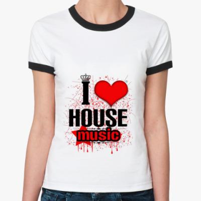 Женская футболка Ringer-T   хаус музыка