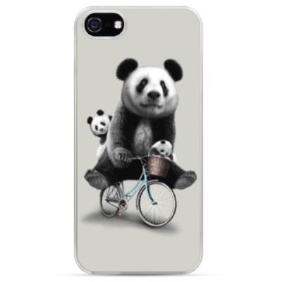 Чехол для iPhone Панды на велосипеде