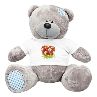 Плюшевый мишка Тедди Сердце и цветы