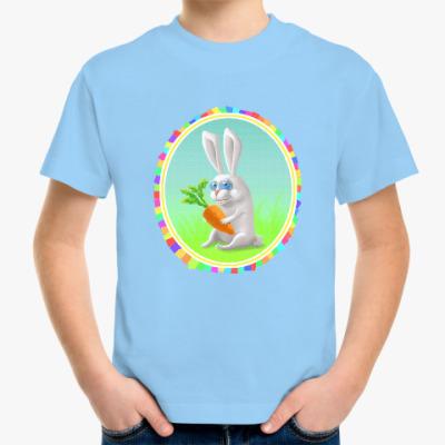 Детская футболка Смешной заяц с морковкой