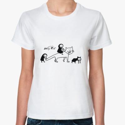 Классическая футболка Верхом на коте