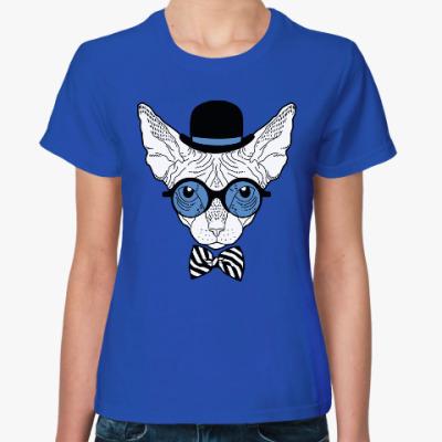Женская футболка Сфинкс в цилиндре