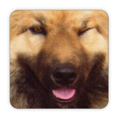 Костер (подставка под кружку) Собака Подмигивака