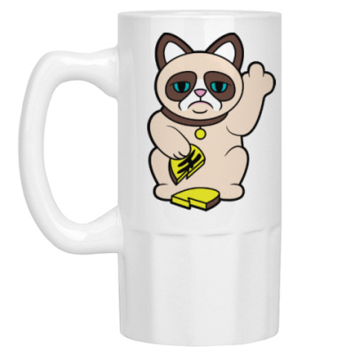 Пивная кружка Tard Grumpy Cat Maneki Neko