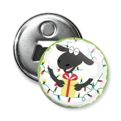 Магнит-открывашка Новогодняя овечка