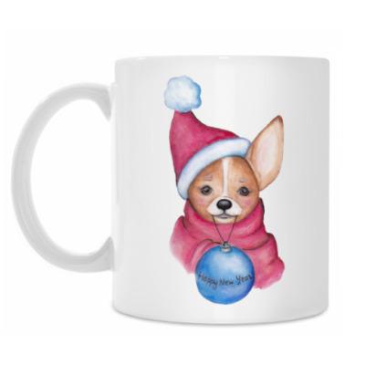 Кружка Новогодняя собачка с шариком