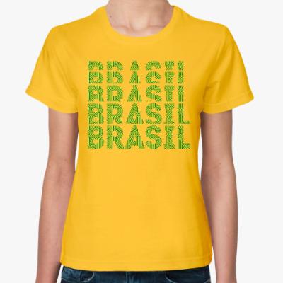 Женская футболка Сборная Бразилии по футболу с орнаментом