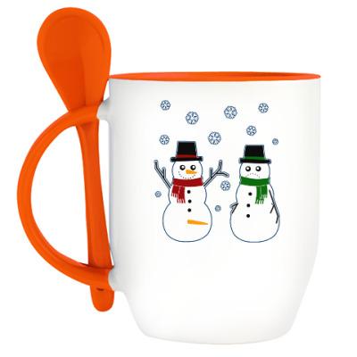 Кружка с ложкой Happy Snowman