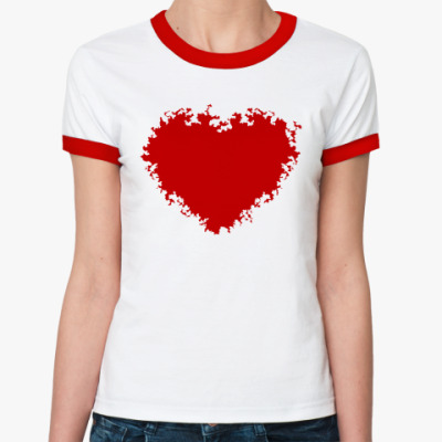 Женская футболка Ringer-T Красное сердце