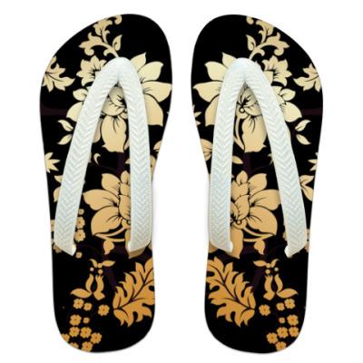 Шлепанцы (сланцы) Золотые цветы.