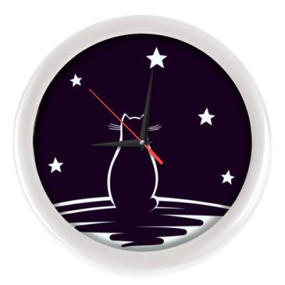 Настенные часы Кот и звезды