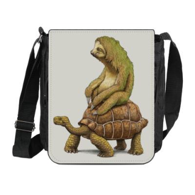 Сумка на плечо (мини-планшет) Ленивец на черепахе