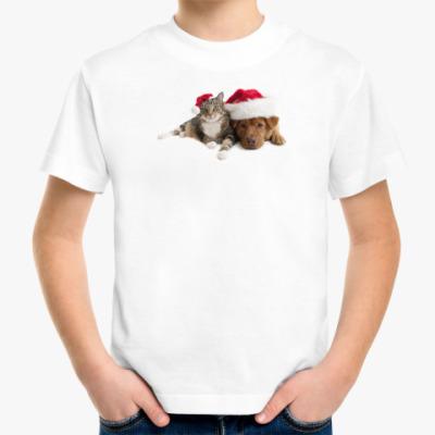 Детская футболка Новогоднии кот и пёс