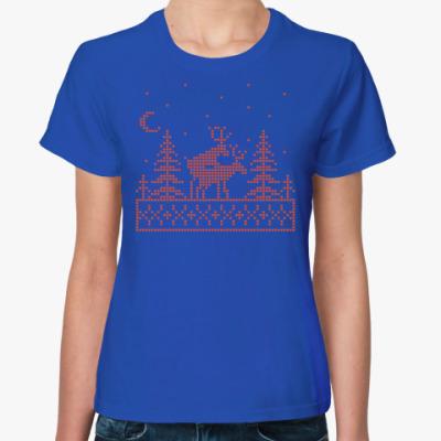 Женская футболка Олени в лесу