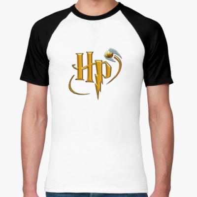 Футболка реглан HP  М (бел/чёрн)