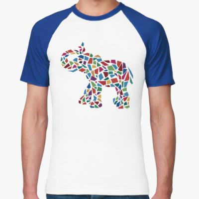 Футболка реглан Слон - мозаика