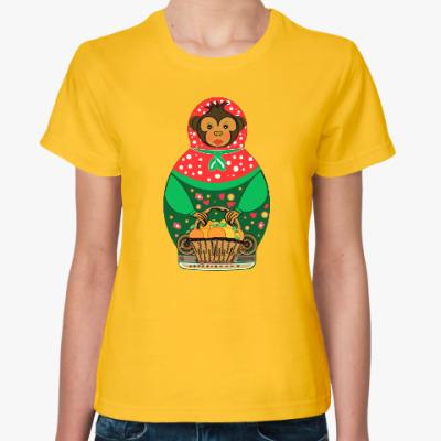 Женская футболка Обезьянка матрешка с апельсинами