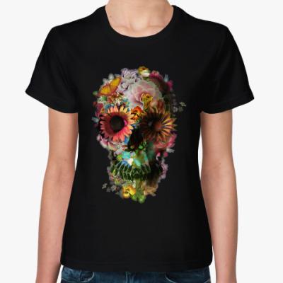 Женская футболка Цветочный Череп