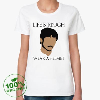 Женская футболка из органик-хлопка  Wear a helmet