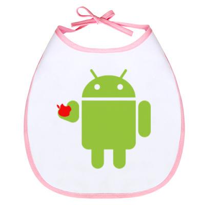 Слюнявчик Андроид с яблоком