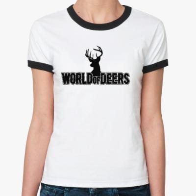 Женская футболка Ringer-T World of deers