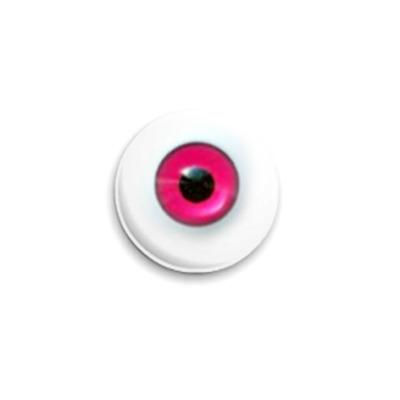 Значок 25мм  Глаз малиновый
