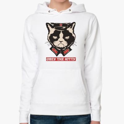 Женская толстовка худи Obey the kitty