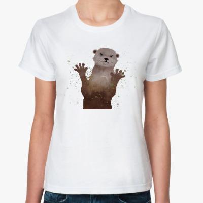 Классическая футболка Выдра и брызги