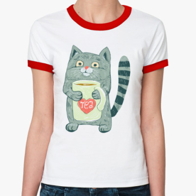 Женская футболка Ringer-T Котик