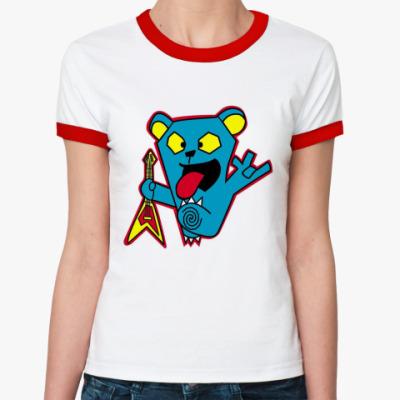 Женская футболка Ringer-T  Bear Rock