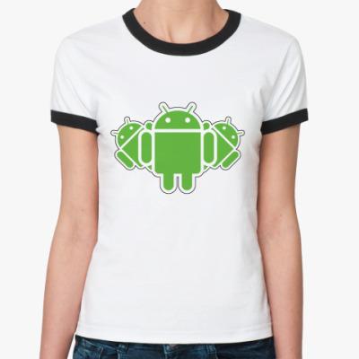 Женская футболка Ringer-T  Androids